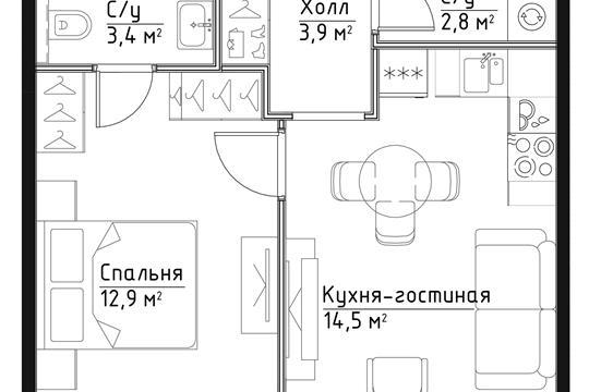 1-комн квартира, 37.5 м<sup>2</sup>, 2 этаж_1