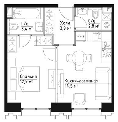 1-комн квартира, 37.5 м2, 2 этаж - фото 1