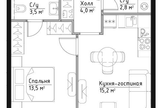 1-комн квартира, 39 м<sup>2</sup>, 9 этаж_1