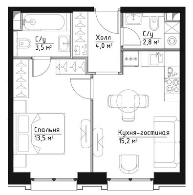 1-комн квартира, 39 м2, 9 этаж - фото 1