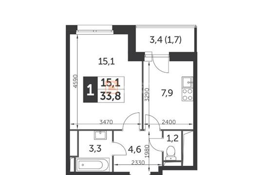 1-комн квартира, 33.8 м2, 8 этаж