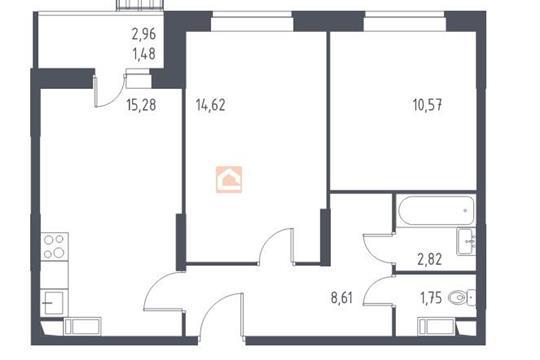 2-комн квартира, 55.13 м2, 12 этаж