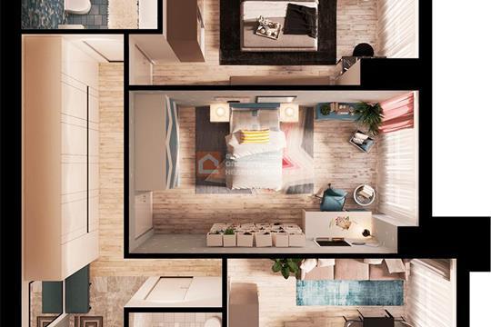2-комн квартира, 71.2 м2, 43 этаж
