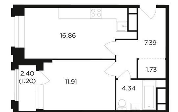 1-комн квартира, 43.43 м2, 21 этаж