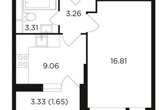 1-комн квартира, 34.1 м2, 19 этаж