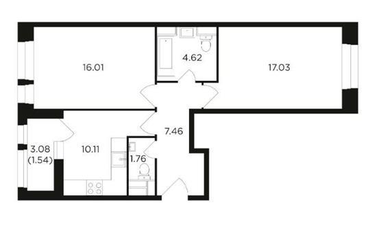 2-комн квартира, 58.53 м2, 2 этаж
