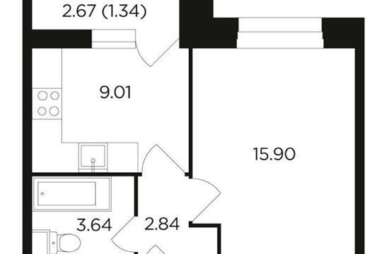 1-комн квартира, 32.73 м2, 6 этаж