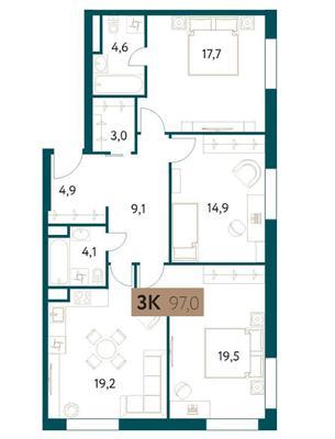 3-комн квартира, 97 м2, 3 этаж - фото 1