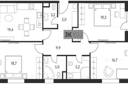 3-комн квартира, 104 м<sup>2</sup>, 2 этаж_1