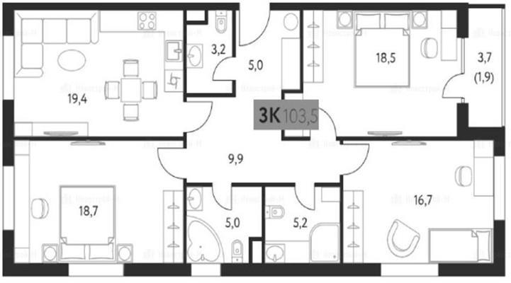 3-комн квартира, 104 м2, 2 этаж - фото 1