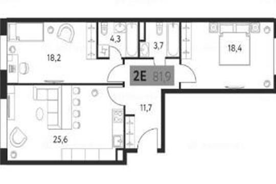 2-комн квартира, 81.9 м<sup>2</sup>, 6 этаж_1