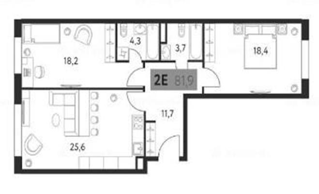2-комн квартира, 81.9 м2, 6 этаж - фото 1