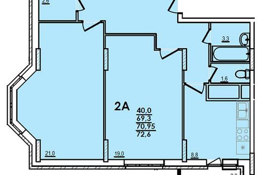 2-комн квартира, 72 м2, 14 этаж