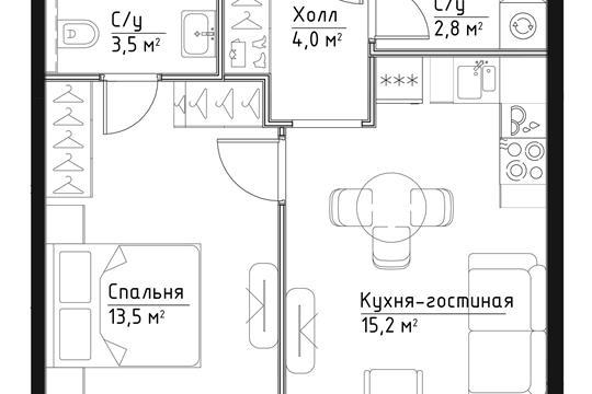 1-комн квартира, 39 м<sup>2</sup>, 3 этаж_1