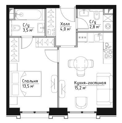 1-комн квартира, 39 м2, 3 этаж - фото 1