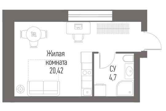 Студия, 25.12 м2, 12 этаж