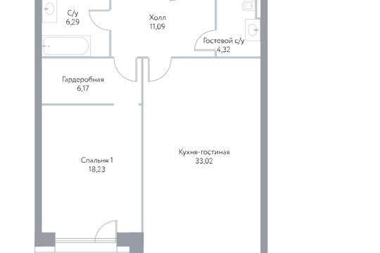 2-комн квартира, 79 м2, 7 этаж