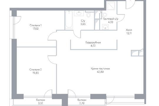 3-комн квартира, 117.7 м2, 14 этаж