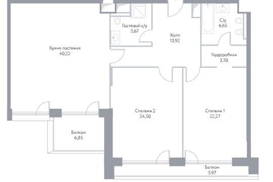 3-комн квартира, 129 м2, 5 этаж