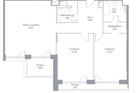 3-комн квартира, 128 м2, 9 этаж