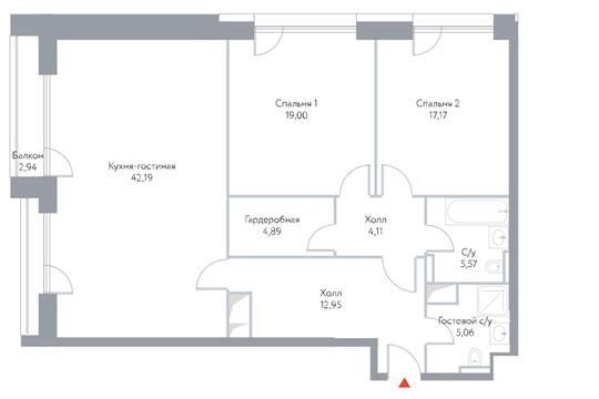 3-комн квартира, 113.3 м2, 6 этаж