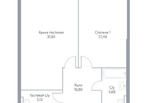 2-комн квартира, 74.9 м2, 7 этаж