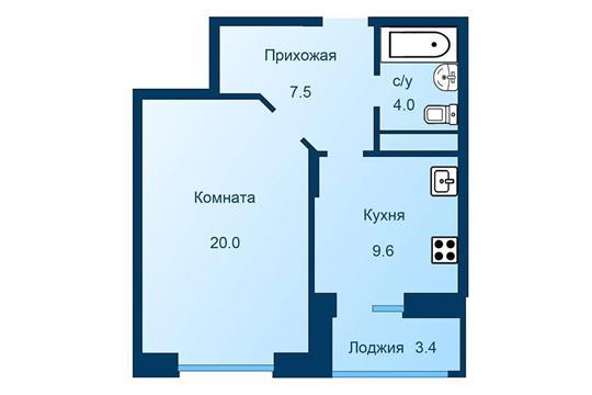 1-комн квартира, 42.8 м2, 2 этаж