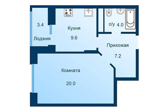 1-комн квартира, 42.5 м2, 2 этаж