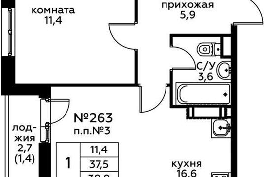 1-комн квартира, 38.9 м2, 14 этаж