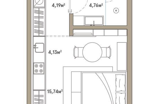 1-комн квартира, 28.69 м2, 5 этаж