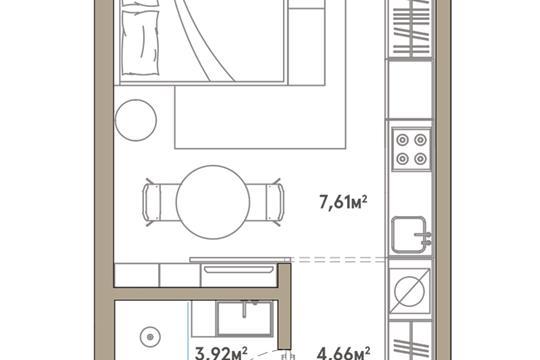 1-комн квартира, 28.26 м2, 5 этаж
