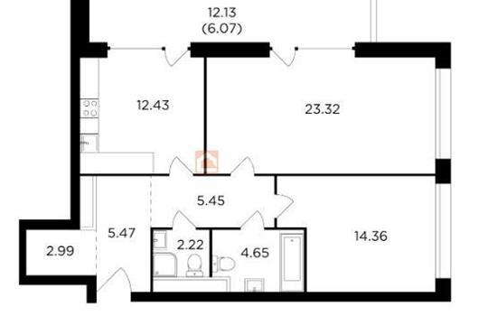 2-комн квартира, 76.96 м2, 18 этаж
