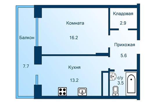 1-комн квартира, 43.7 м2, 2 этаж