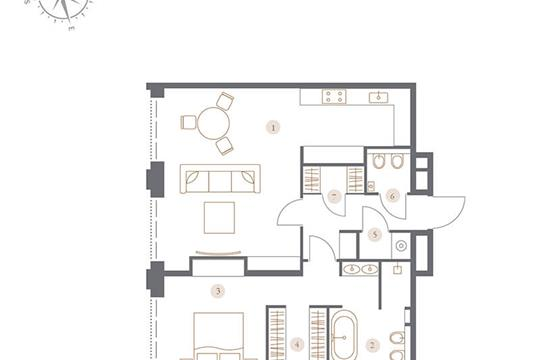 2-комн квартира, 75.26 м2, 6 этаж