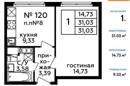 1-комн квартира, 31.1 м2, 16 этаж