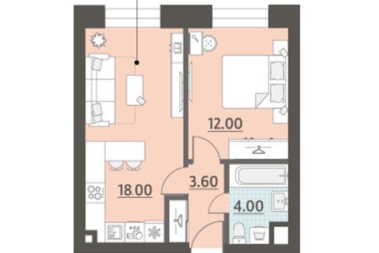 1-комн квартира, 37.6 м2, 5 этаж