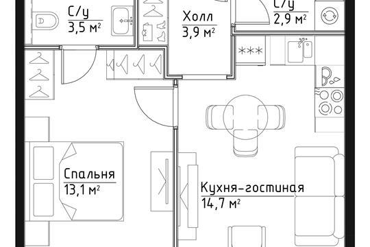 1-комн квартира, 38.1 м2, 27 этаж