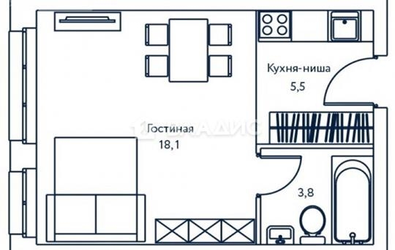 1-комн квартира, 27.4 м2, 23 этаж