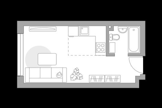 Студия, 25.6 м2, 19 этаж