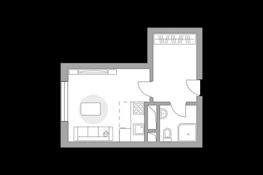 Студия, 22.95 м2, 2 этаж