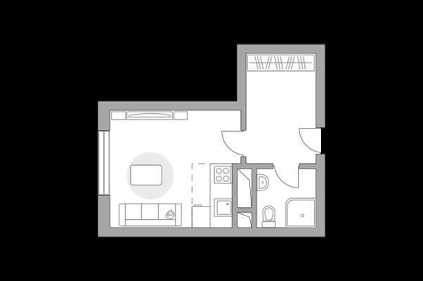 Студия, 22.95 м2, 2 этаж - фото 1