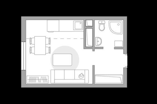 Студия, 23.06 м2, 3 этаж