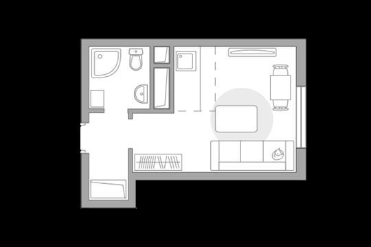 Студия, 21.42 м<sup>2</sup>, 24 этаж_1