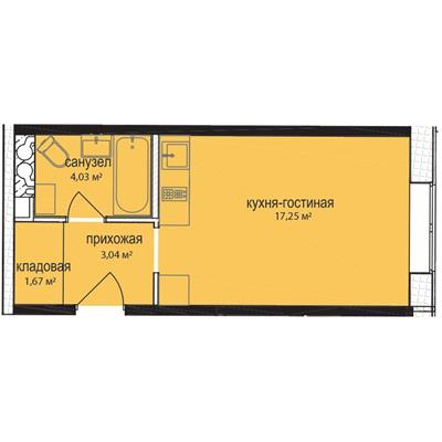 Студия, 28.2 м2, 3 этаж - фото 1
