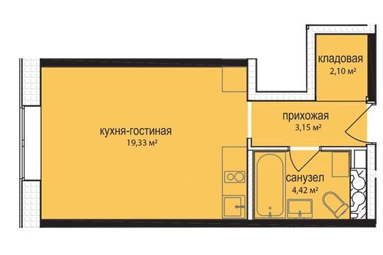 Студия, 29 м2, 1 этаж