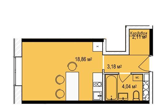 Студия, 28.2 м2, 3 этаж