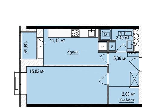 Студия, 41.71 м2, 7 этаж