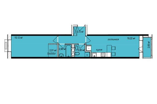 2-комн квартира, 49.1 м2, 6 этаж