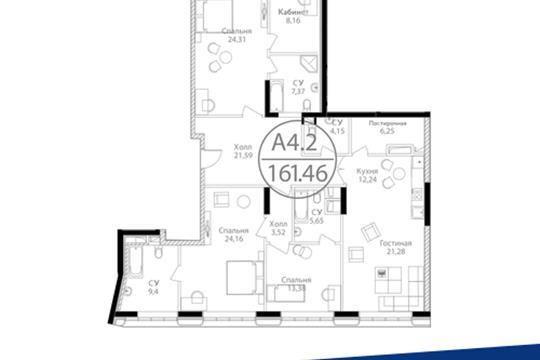 3-комн квартира, 161.46 м<sup>2</sup>, 15 этаж_1
