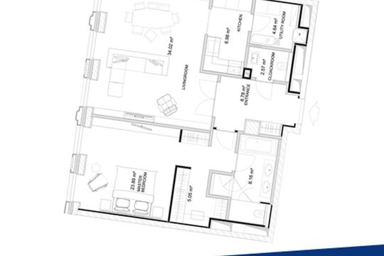 1-комн квартира, 92.5 м2, 8 этаж